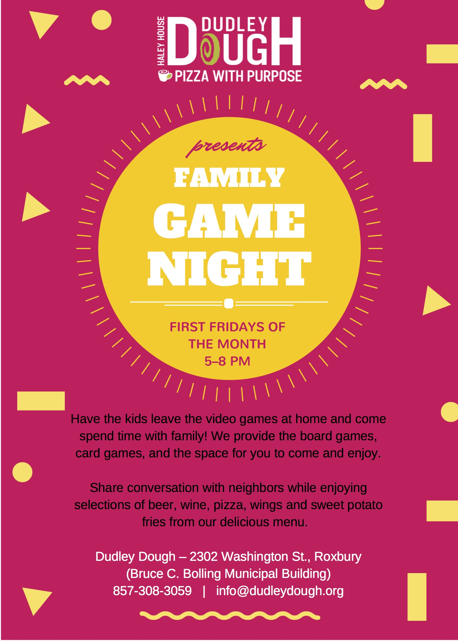 Dudley Dough-First Fridays Board Game Night Flyer-3 2